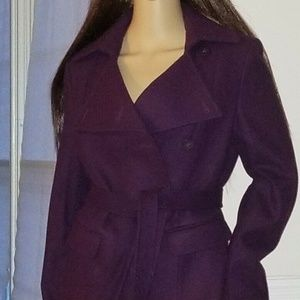 Kenar Deep Purple Wool Blend Jacket Coat Size M